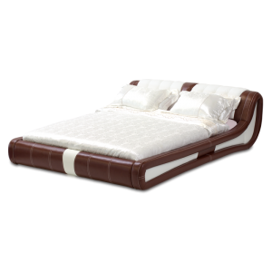 Leather bed - AVA 180 - brown-white