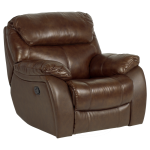Leather recliner sofa 1-seater SANDRA - brown 220