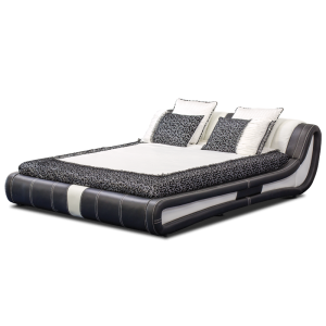 Leather bed - AVA 160 - black-white - 1
