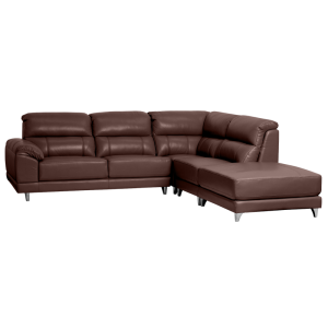 Leather corner sofa CAPRICE - chestnut - 1