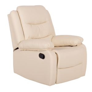 Leather recliner sofa 1-seater ERIDA - cream - 1