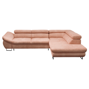 Corner sofa FABIO with sleep function - peach 9612