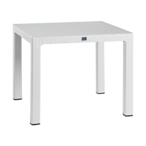 Synthetic rattan garden table BEGONVIL 90 - white